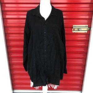 Flax 100% Linen Black Button Down Shirt Dress L